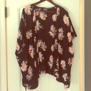 Black and flowered Kimono.